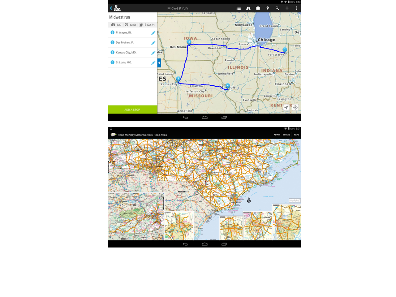 Rand mcnally tnd tablet truck gps tndt80b nice l k for Motor carriers road atlas download